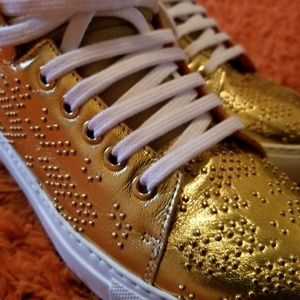 MCM Gold Studded Leather Sneakers